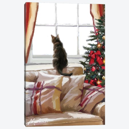 Cat On Chair Canvas Print #MNS190} by The Macneil Studio Canvas Print
