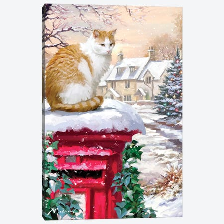 Cat On Postbox Canvas Print #MNS191} by The Macneil Studio Art Print