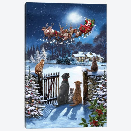 Cats And Dogs Watching Santa Canvas Print #MNS193} by The Macneil Studio Canvas Art Print