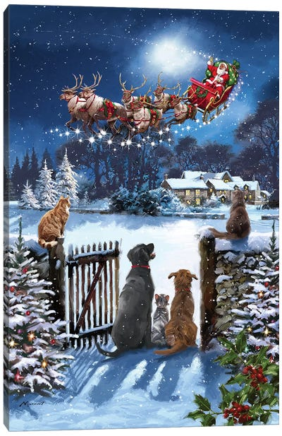 Cats And Dogs Watching Santa Canvas Art Print