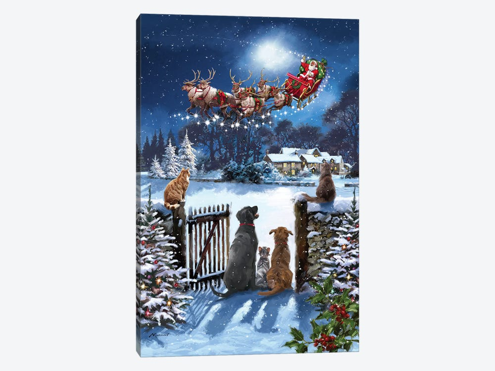 Cats And Dogs Watching Santa by The Macneil Studio 1-piece Canvas Artwork
