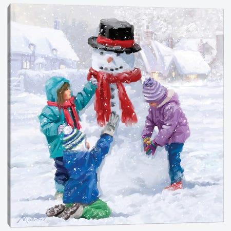 Children Making Snowman Canvas Print #MNS197} by The Macneil Studio Canvas Wall Art
