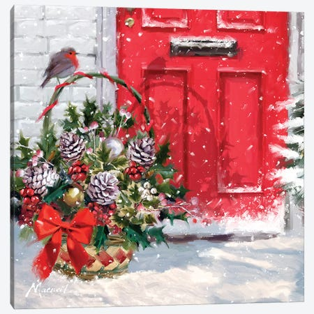 Christmas Basket Canvas Print #MNS212} by The Macneil Studio Canvas Artwork