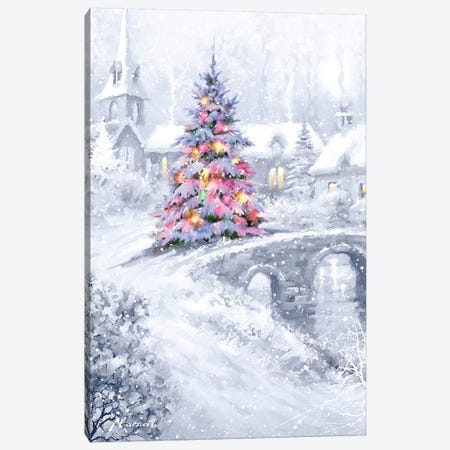 Christmas Bridge Canvas Print #MNS213} by The Macneil Studio Canvas Artwork