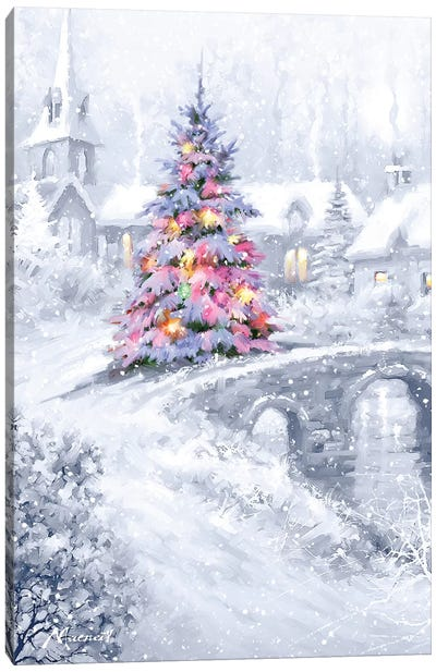 Christmas Bridge Canvas Art Print