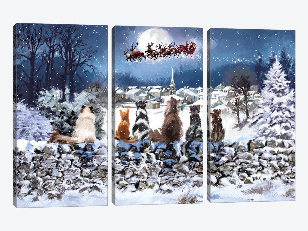Christmas Cats by The Macneil Studio 3-piece Art Print