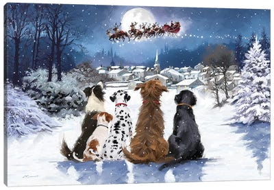 Christmas Dogs Canvas Art Print