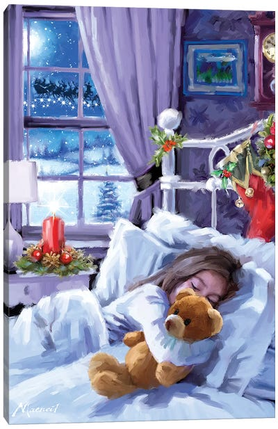 Christmas Eve Girl Canvas Art Print