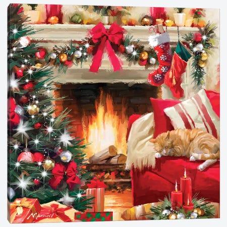 Christmas Fireplace Canvas Print #MNS226} by The Macneil Studio Canvas Art