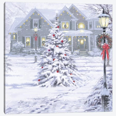 Christmas House Canvas Print #MNS229} by The Macneil Studio Canvas Art Print