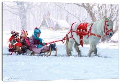 Christmas Pony Ride Canvas Art Print