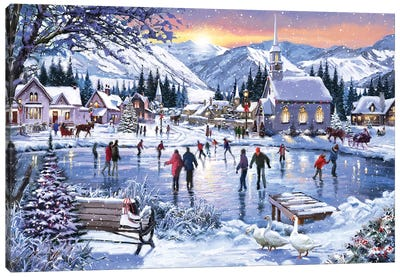 Christmas Skating Canvas Art Print