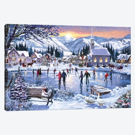 Christmas Skating Canvas Print #MNS249} by The Macneil Studio Art Print