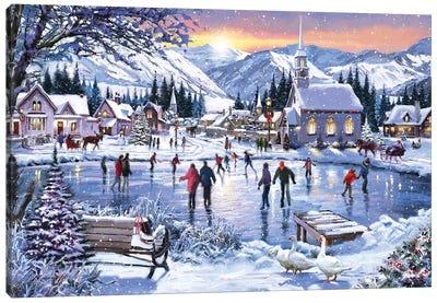 Christmas Skating Canvas Art Print
