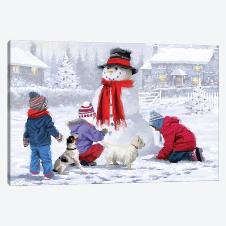 Christmas Snowman Canvas Print #MNS250} by The Macneil Studio Canvas Art