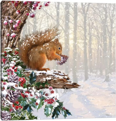 Christmas Squirrel II Canvas Art Print
