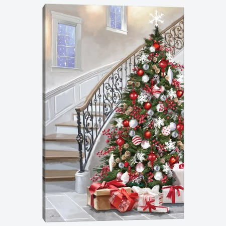 Christmas Tree And Staircase Canvas Print #MNS259} by The Macneil Studio Canvas Artwork