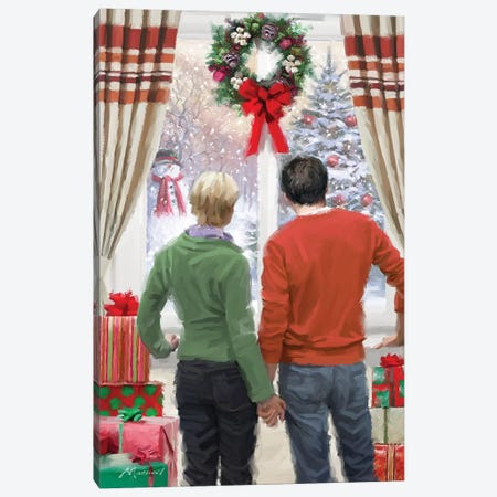 Christmas Window Canvas Print #MNS262} by The Macneil Studio Art Print