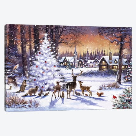 Christmas Wood Canvas Print #MNS263} by The Macneil Studio Canvas Print