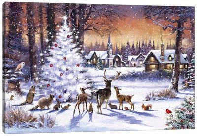 Christmas Wood Canvas Art Print