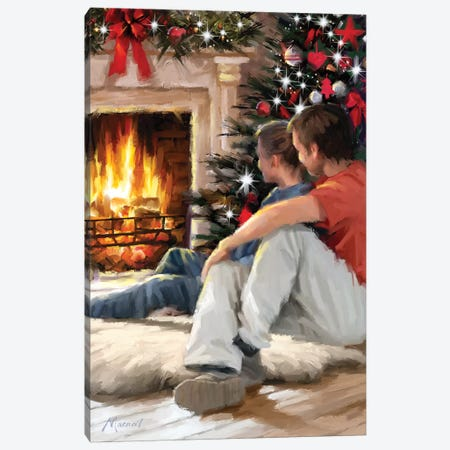 Couple By Fire I Canvas Print #MNS279} by The Macneil Studio Canvas Artwork