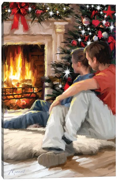 Couple By Fire I Canvas Art Print