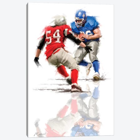 American Football Canvas Print #MNS27} by The Macneil Studio Art Print