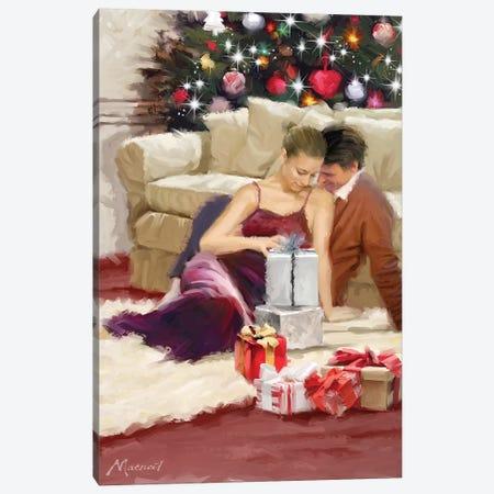Couple Christmas Morning Canvas Print #MNS288} by The Macneil Studio Art Print