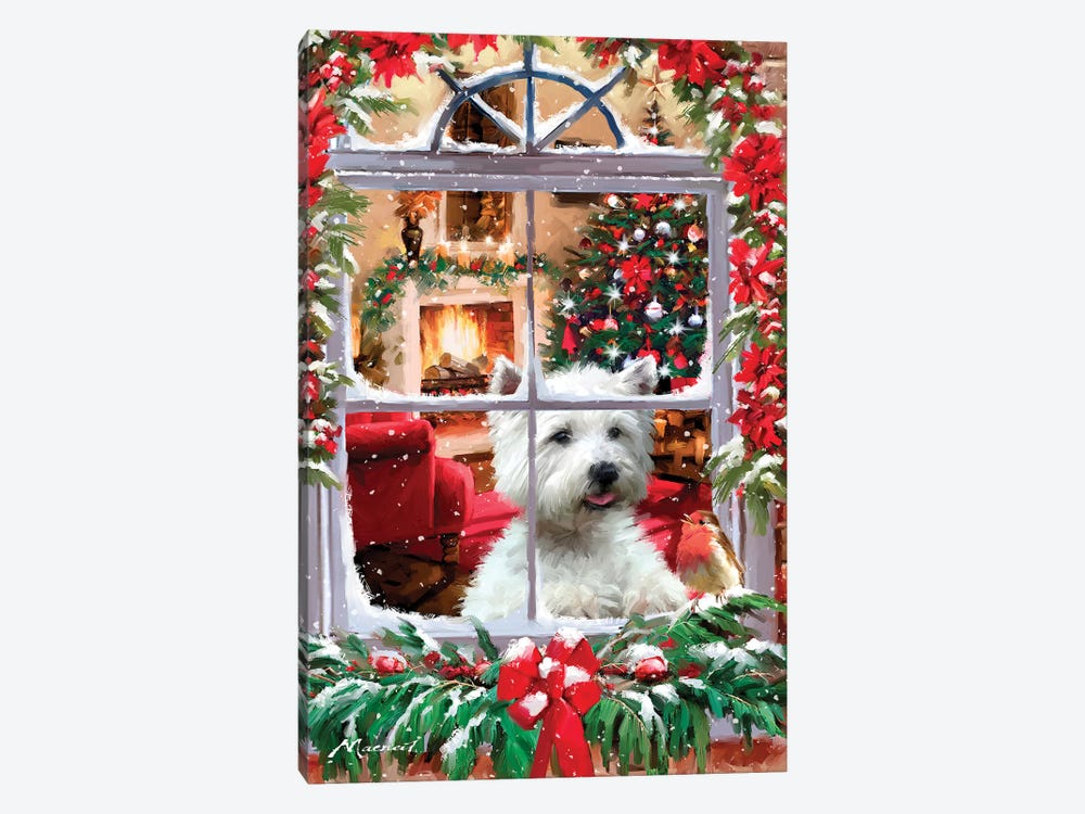 Dog And Robin by The Macneil Studio 1-piece Canvas Art