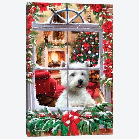 Dog And Robin Canvas Print #MNS293} by The Macneil Studio Canvas Art