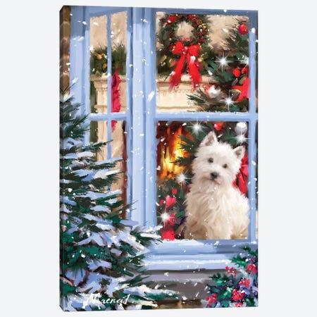 Dog At Window I Canvas Print #MNS294} by The Macneil Studio Art Print