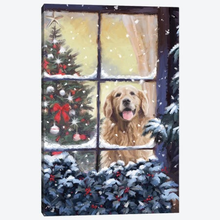 Dog In Window I Canvas Print #MNS297} by The Macneil Studio Canvas Art Print
