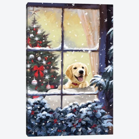 Dog In Window II Canvas Print #MNS298} by The Macneil Studio Canvas Artwork