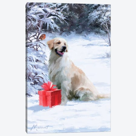 Dog With Gift Canvas Print #MNS300} by The Macneil Studio Canvas Wall Art