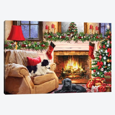 Dogs By Fire Canvas Print #MNS301} by The Macneil Studio Canvas Art