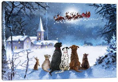 Dogs Watching Santa I Canvas Art Print