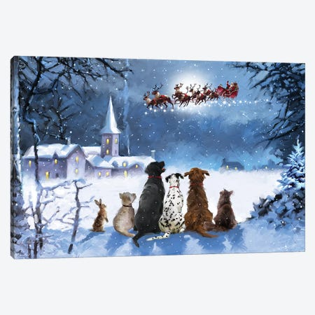Dogs Watching Santa I Canvas Print #MNS302} by The Macneil Studio Canvas Wall Art