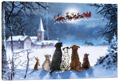 Dogs Watching Santa I Canvas Art Print