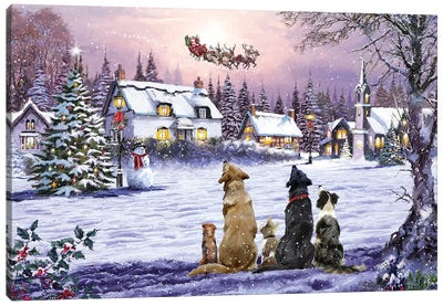 Dogs Watching Santa II Canvas Art Print