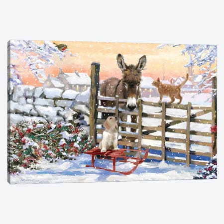 Donkey And Pets Canvas Print #MNS304} by The Macneil Studio Canvas Print