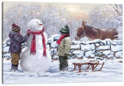 Donkey In Snow Canvas Art Print