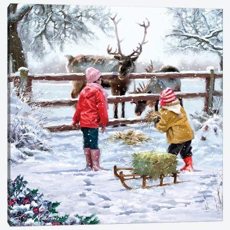 Feeding Reindeer Canvas Print #MNS309} by The Macneil Studio Canvas Art