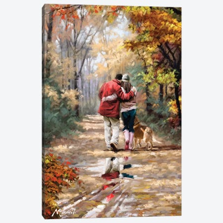 Couple Walking Canvas Print #MNS30} by The Macneil Studio Canvas Print