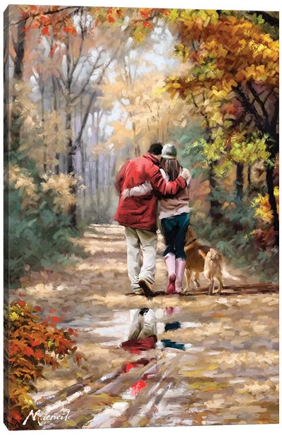 Couple Walking Canvas Art Print