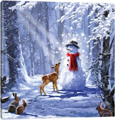 Forest Snowman I Canvas Art Print