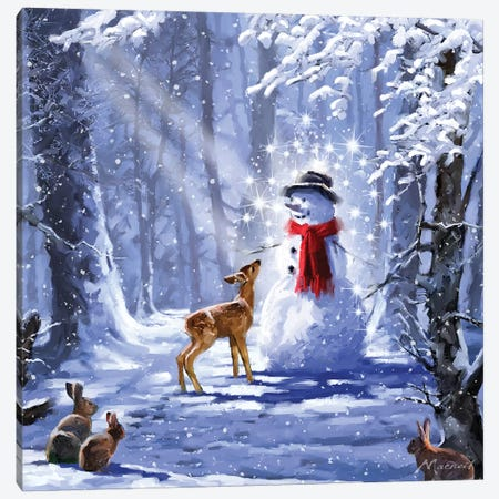 Forest Snowman I Canvas Print #MNS317} by The Macneil Studio Canvas Artwork