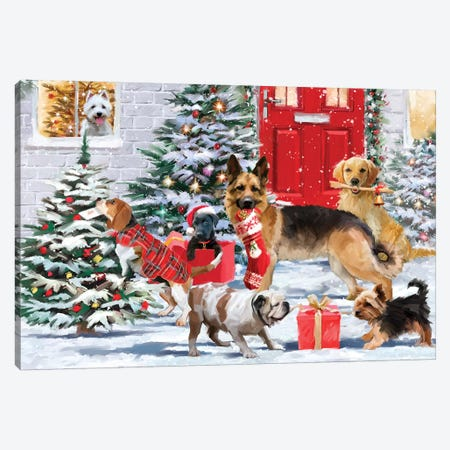 Frolicking Dogs Canvas Print #MNS321} by The Macneil Studio Canvas Wall Art