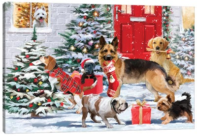 Frolicking Dogs Canvas Art Print