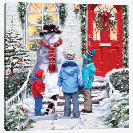 Garden Snowman Canvas Print #MNS325} by The Macneil Studio Canvas Print