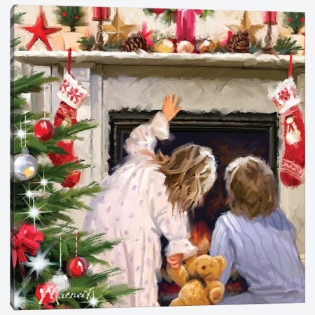 Girl And Boy Looking Up Chimney Canvas Print #MNS330} by The Macneil Studio Canvas Print